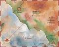 Карта побережья Италии и части Тирренского моря с указанием городов Рим, Неаполь, Фьюджи